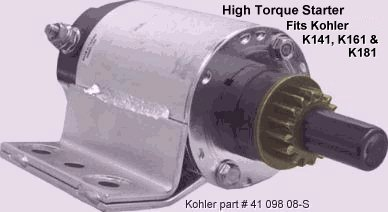electrical solutions for small engines and garden pulling tractors high torque gear starter motors for kohler k series engine models k141 k161 and k181 12 volt 16 tooth gear each have 20% more wire windings than the