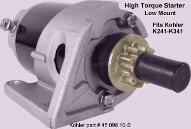 electrical solutions for small engines and garden pulling tractors high torque lower mount mounting bolts are above starter gear starter motors for kohler k series engine models k241 k301 k321 k341 and k361 12 volt