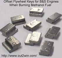 Special-made offset flywheel keys for Briggs & Stratton engines.