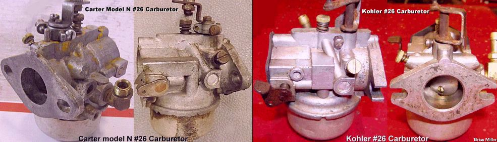 The differences between the Carter (#26, #28, #30) and Kohler (#26, #30) carburetors